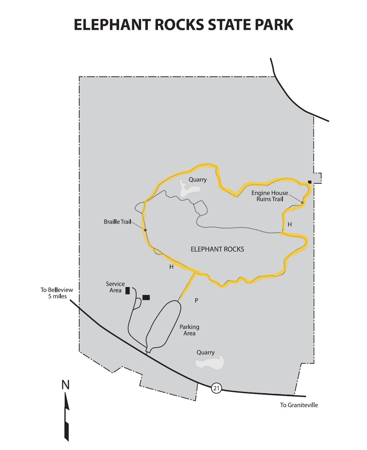 Elephant Rocks State Park Trail Map