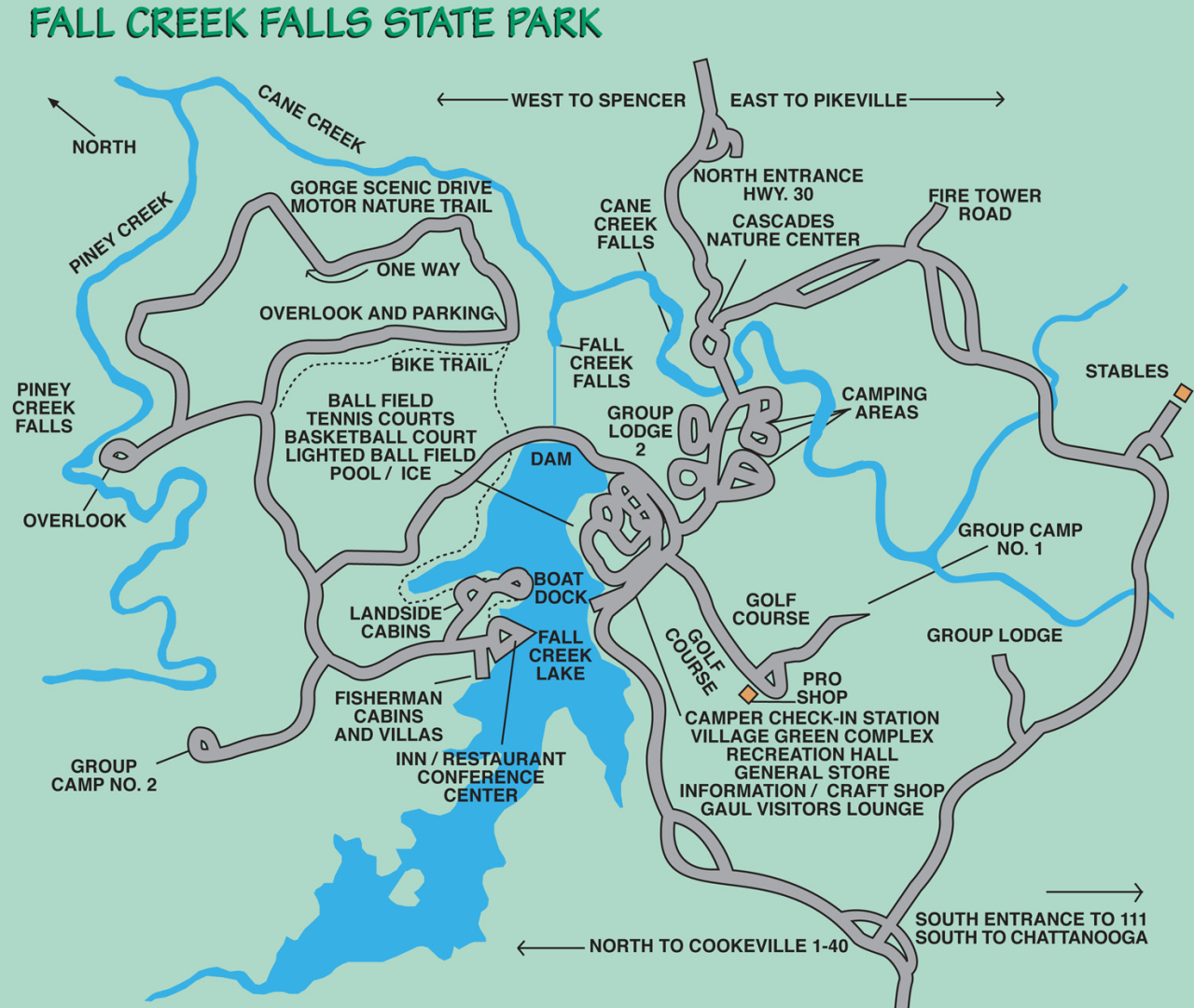 Fall Creek Falls Map