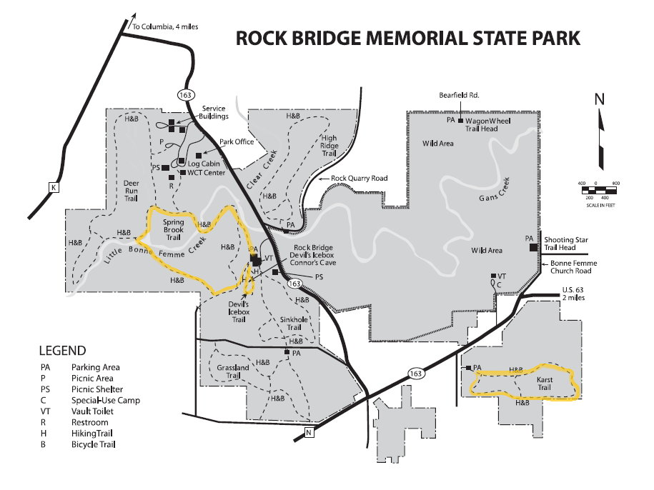 Rock Bridge Memorial State Park Trail Map