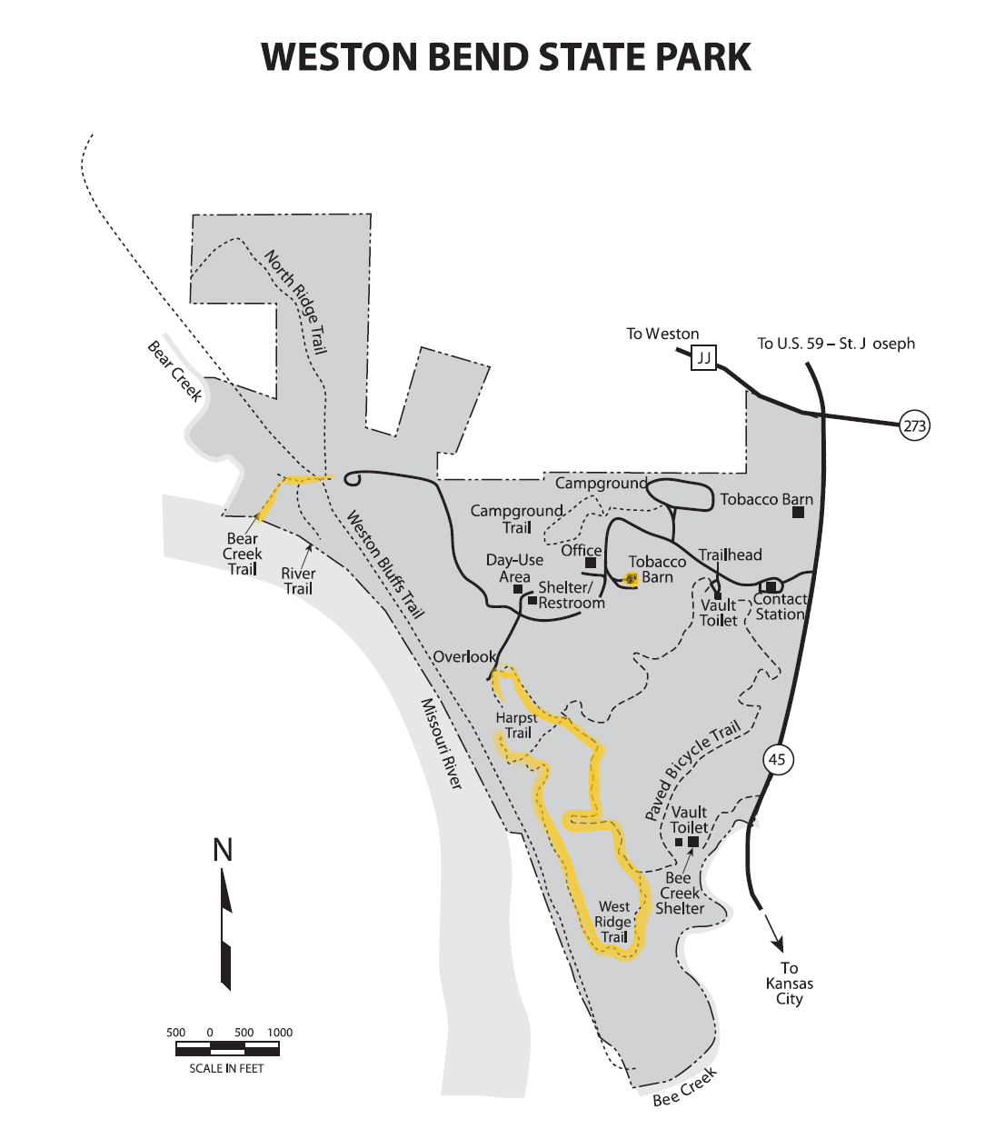 Weston Bend State Park Trail Map
