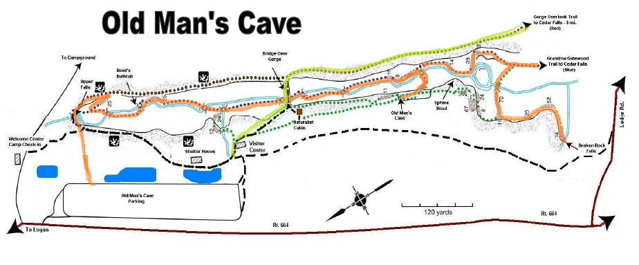 Classic Man Cave Map : Old man s cave to cedar falls hocking hills ohio