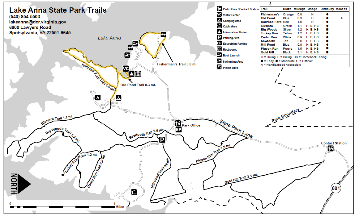 Lake Anna Trail Map