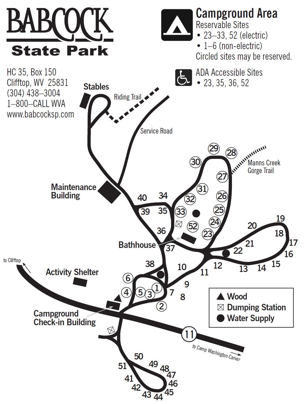Babcock Campground map