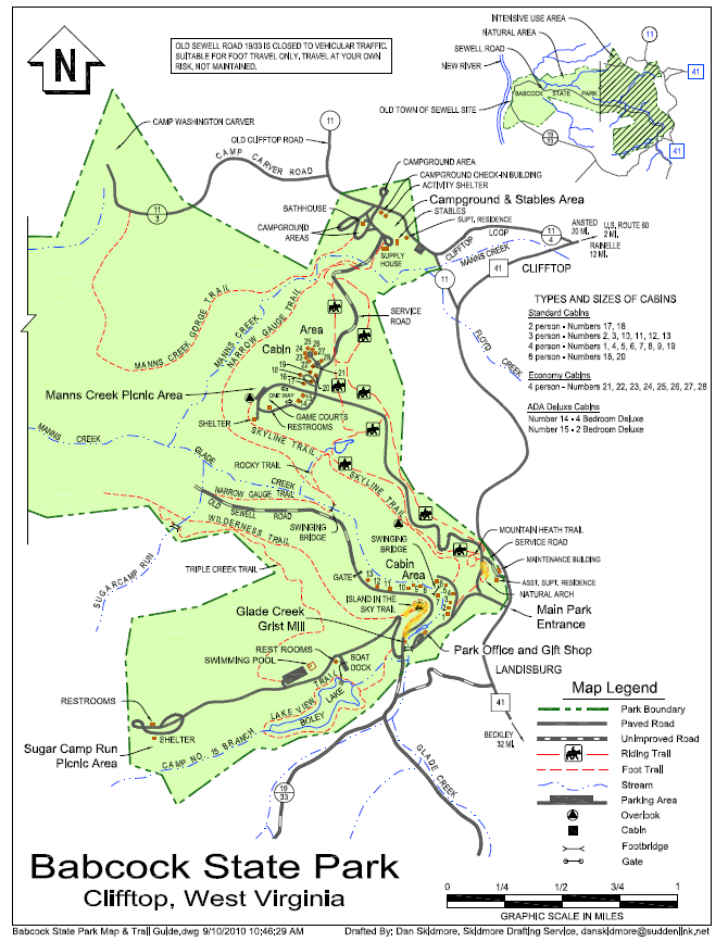 Babcock State Park map