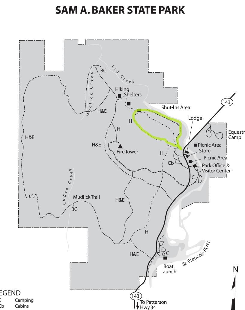 Sam A. Baker State Park Map